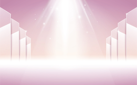 pink stage with white spotlight shooting from the top, 3d illustration Illustration