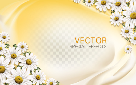 macro flowers: chamomile flower background with liquid elements, 3d illustration
