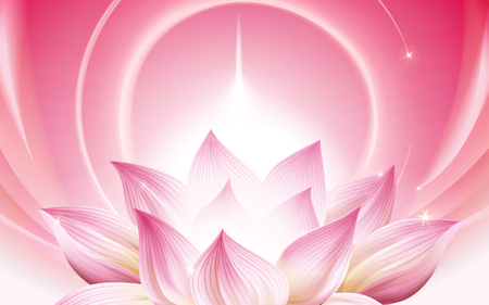 complete pink lotus at the lower half of the picture, 3d illustration Illustration