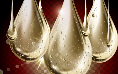 transparency: golden clear water drop closeup with transparent background Illustration