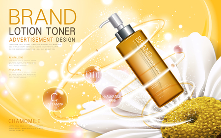 breath: chamomile lotion toner contained in a bottle with flower and breath elements, 3d illustration Illustration