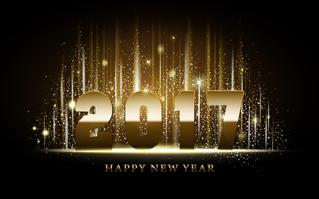 worldwide wish: 2017 Happy New Year calligraphy with golden metallic luster, black background Illustration