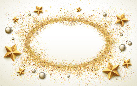 therapeutic: therapeutic beach background, with golden stars, silver pearls and white sand