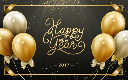 worldwide wish: 2017 Happy New Year calligraphy with golden and white balloons, black background