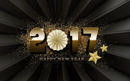 worldwide wish: 2017 Happy New Year calligraphy with golden stars and powder elements, black background