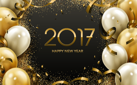 worldwide wish: 2017 Happy New Year calligraphy with golden and white balloon elements, black background Illustration