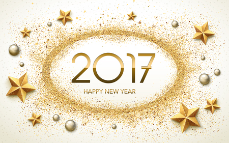 worldwide wish: 2017 Happy New Year calligraphy with star and pearl elements, soft white sand background