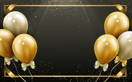 elegant balloons with golden frame, dark sky background