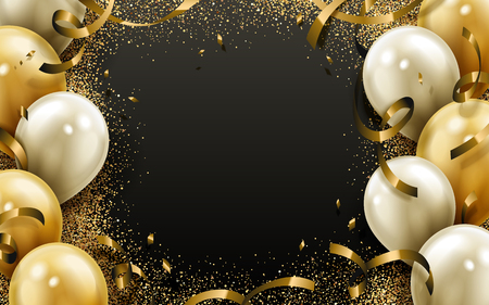party balloon and ribbon elements, black background 일러스트