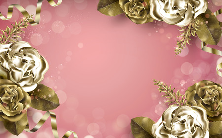luster: golden rose elements with metallic luster, pink background