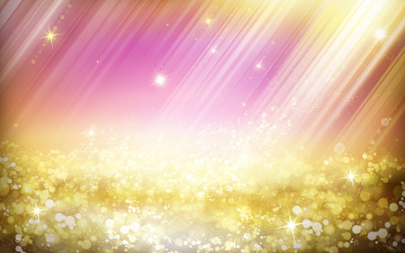 fairyland: dreamy fairyland illustration, with magical light shining, glittering landscape and pink background