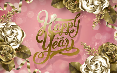 golden ribbons: 2017 Happy New Year background with golden roses and ribbons, pink background Stock Photo