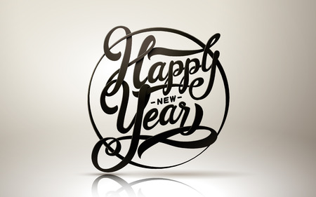 single word: happy new year calligraphy black words, isolated white background, can be used as single element
