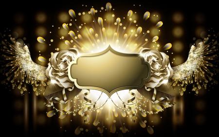 황금 무대 빛 배경으로 황금 빈 배지 날개 일러스트