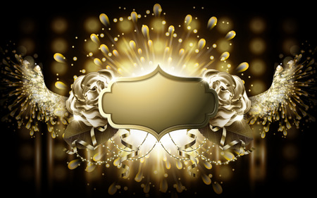 winged golden blank badge, with golden stage light background Imagens - 69806187