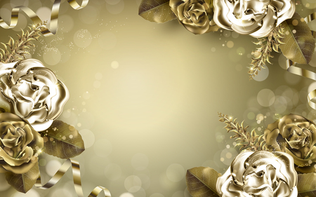luster: golden rose elements with metallic luster, golden background
