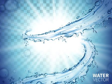 上がる要素中心に輝く白い光で青い水の流れ