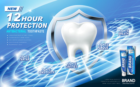 contained: antibacterial toothpaste ad, contained in blue tube, technical ring background Illustration