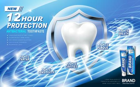 antibacteriano anuncio de pasta de dientes, contenida en el tubo azul, anillo de fondo técnico