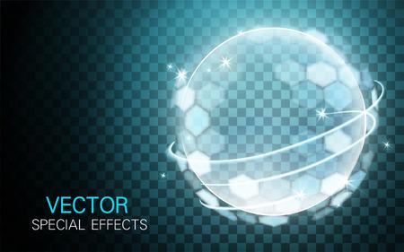 밝은 줄무늬가있는 투명한 lightball 요소