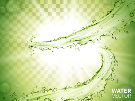 penetrate: green water flow rising up element, with white light shining in the center Illustration