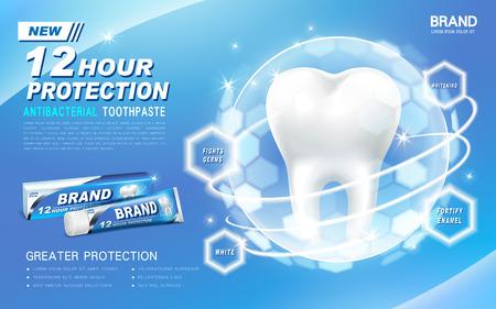 antibacteriano anuncio de pasta de dientes, contenido en el tubo de color azul, con un diente recubierto en una bola de luz transparente Ilustración de vector