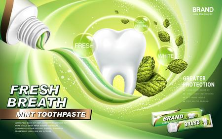 초록빛 튜브에 담겨 진 박하 치약 광고, 민트 잎과 녹색 호흡 주변