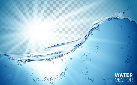 Wellenelement blaue Flut, mit weißem Licht in das Wasser scheint, kann als Hintergrund verwendet werden Vektorgrafik