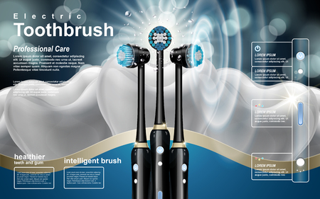 intelligent black electric toothbrush ad, teeth background in 3d illustration Ilustração