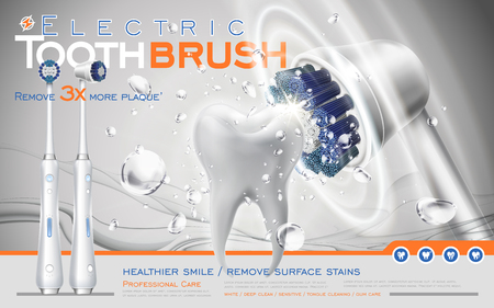 dental health: electric sonic toothbrush ad, white brush contacts tooth and makes it clean, 3d illustration