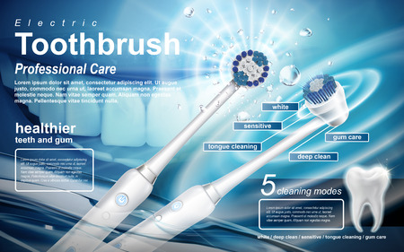 電動音波歯ブラシの広告、この製品には使用する 5 つのモードが含まれています