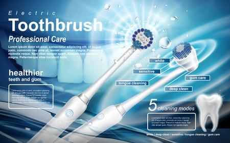 Elektryczna soniczna szczoteczka do zębów, produkt ten obejmuje pięć trybów, które mają być użyte Ilustracje wektorowe