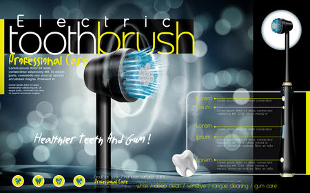 intelligent black electric toothbrush ad, with sonic wave and blur background, 3d illustration