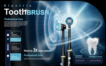 intelligent black electric toothbrush ad, sonic wave and white tooth elements Vettoriali