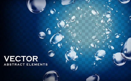 bubble water: blue water and bubble elements, transparent background