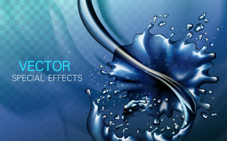 several dark blue water elements combined, special effect