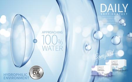 물 흐름 요소와 소프트 콘택트 렌즈 광고, 밝은 파란색 배경