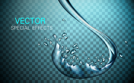 special effect: water flow special effect with waterdrop elements, light blue background Illustration