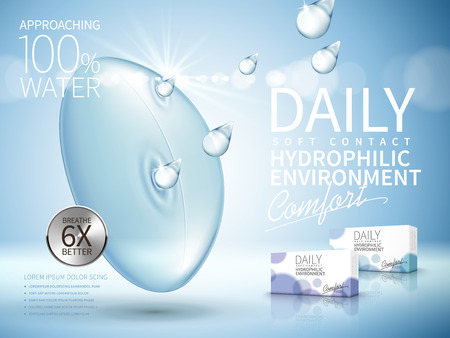 soft contact lenses ad, with water drop elements, light blue background Illustration