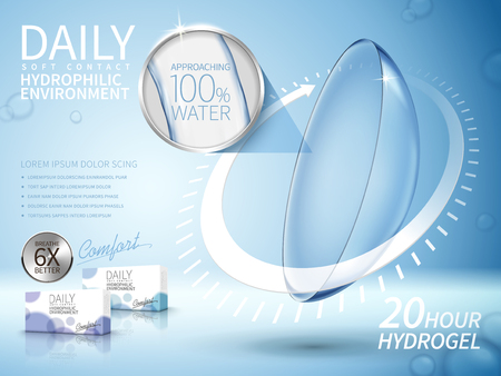 soft contact lenses ad, with long term arrow elements, light blue background