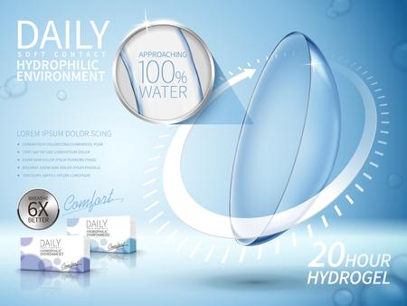 Weiche Kontaktlinsen Anzeige, mit langfristigen Pfeilelemente, hellblauen Hintergrund Standard-Bild - 69832555