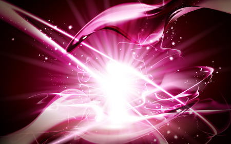 fantasia: pink sparkling light element, can be used as special effect, isolated red background Illustration
