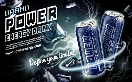 bebida de la energía contenida en la lata azul oscuro, con el elemento actual rodea, fondo negro, ilustración 3d