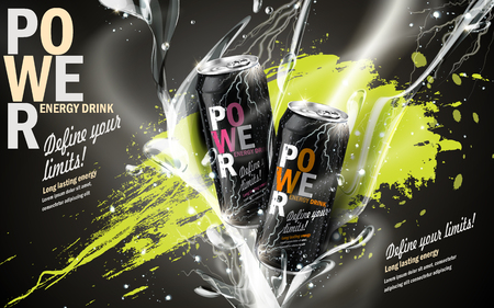 energy drink contained in two kinds of metal cans with refreshing breath elements and spilled paints, gray background Illustration
