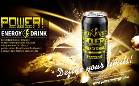 황금 스파클 요소, 검은 배경, 3d 그림 검은 캔에 함유 된 에너지 음료,