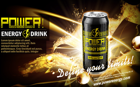 contained: energy drink contained in black can, with golden sparkle element, black background, 3d illustration