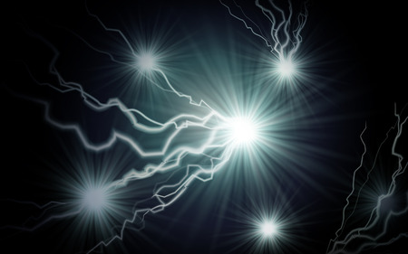 fantasia: silver sparkling lightning element, can be used as special effect, isolated black ground