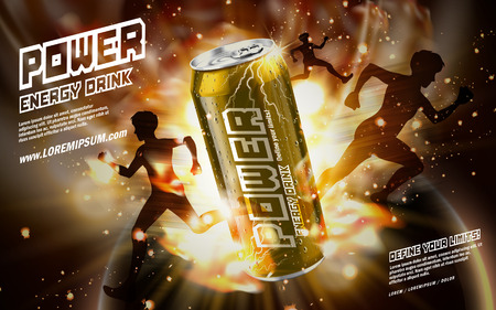 verve: energy drink contained in golden can, with light element and running people shadows surrounding, gold background, 3d illustration