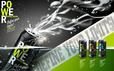 상쾌한 호흡 성분, 회색 배경의 3 종류의 금속 캔에 함유 된 에너지 음료 일러스트