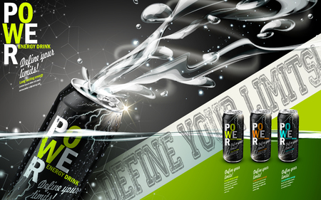 contained: energy drink contained in three kinds of metal cans with refreshing breath elements, gray background